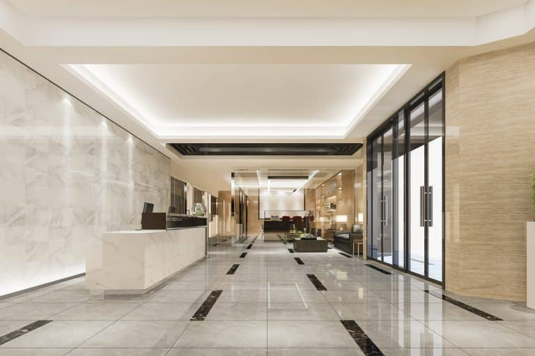 3d rendering modern luxury hotel and office reception and lounge with meeting room chair